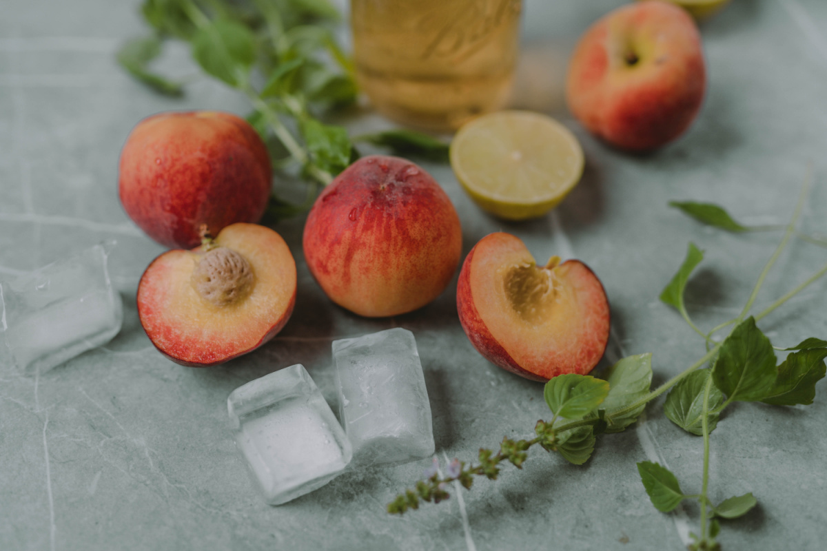 ingredients for holy-basil peach drink