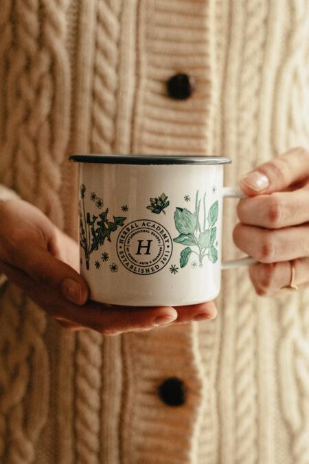 Special Anniversary Floral Enamel Mug - Botanical Mug for Herbalists