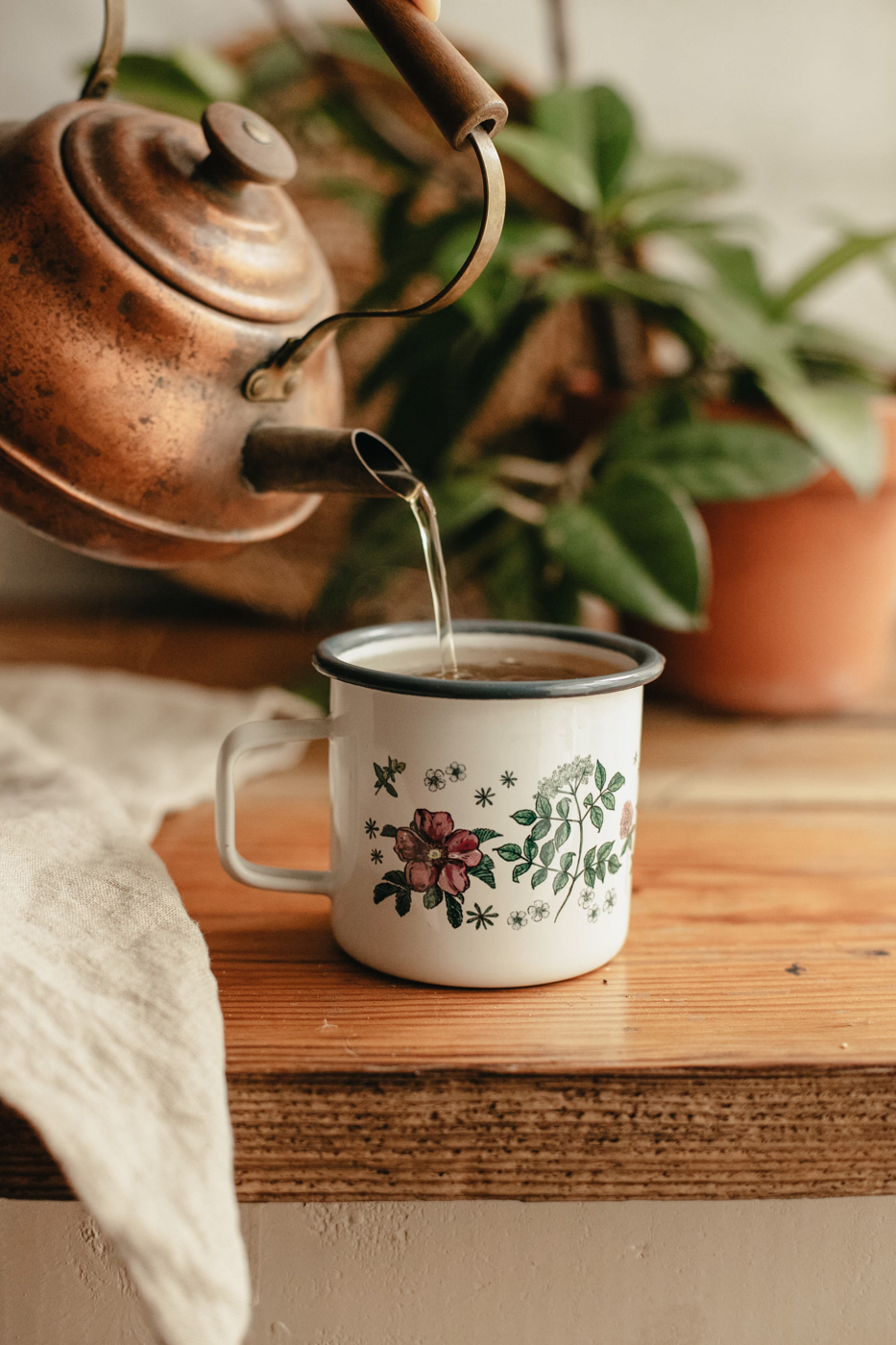 Special Anniversary Floral Enamel Mug - Herbal Academy Mug for Herbalists