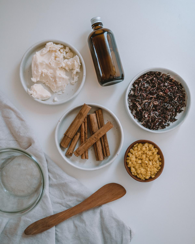 ingredients to make a homemade lip balm recipe