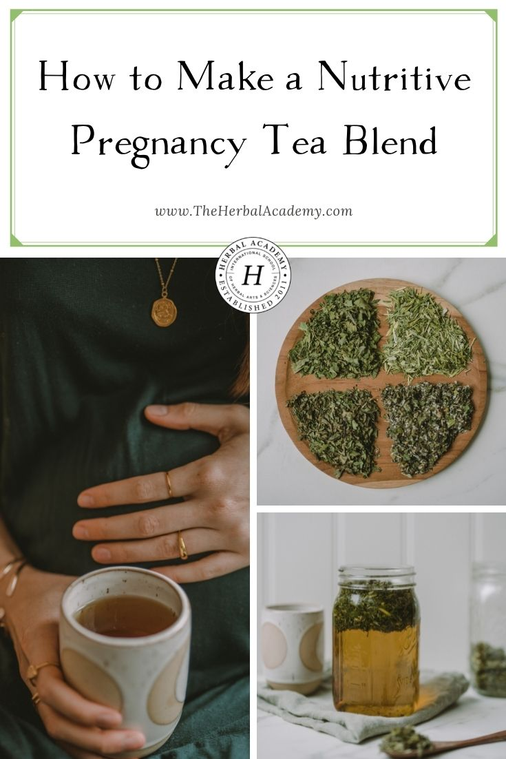 How to Make a Nutritive Pregnancy Tea Blend | Herbal Academy | This herbal pregnancy tea blend is a wonderful way to boost your intake of many vitamins and also aids as a birth preparation brew.