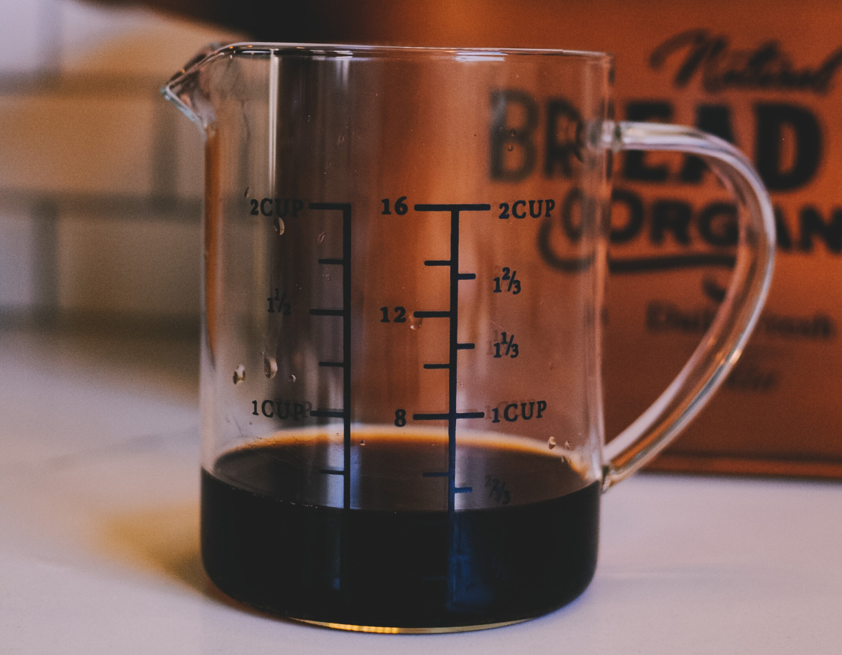 coffee in measuring cup