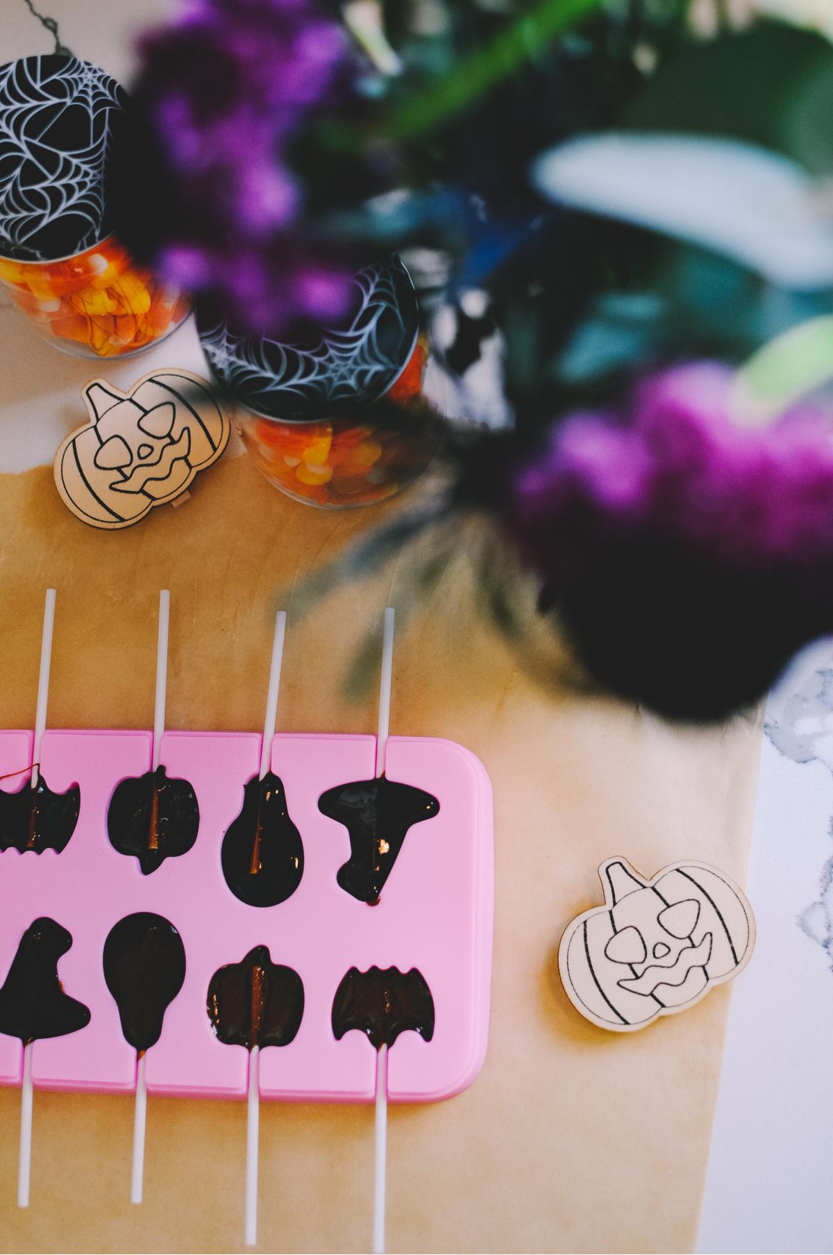 halloween lollipops in candy molds
