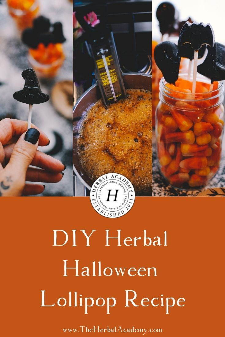 DIY Herbal Halloween Lollipop Recipe | Herbal Academy | This lollipop recipe combines aromatic coffee brewing and a few warming herbs. Together they form a unique herbal lollipop treat!